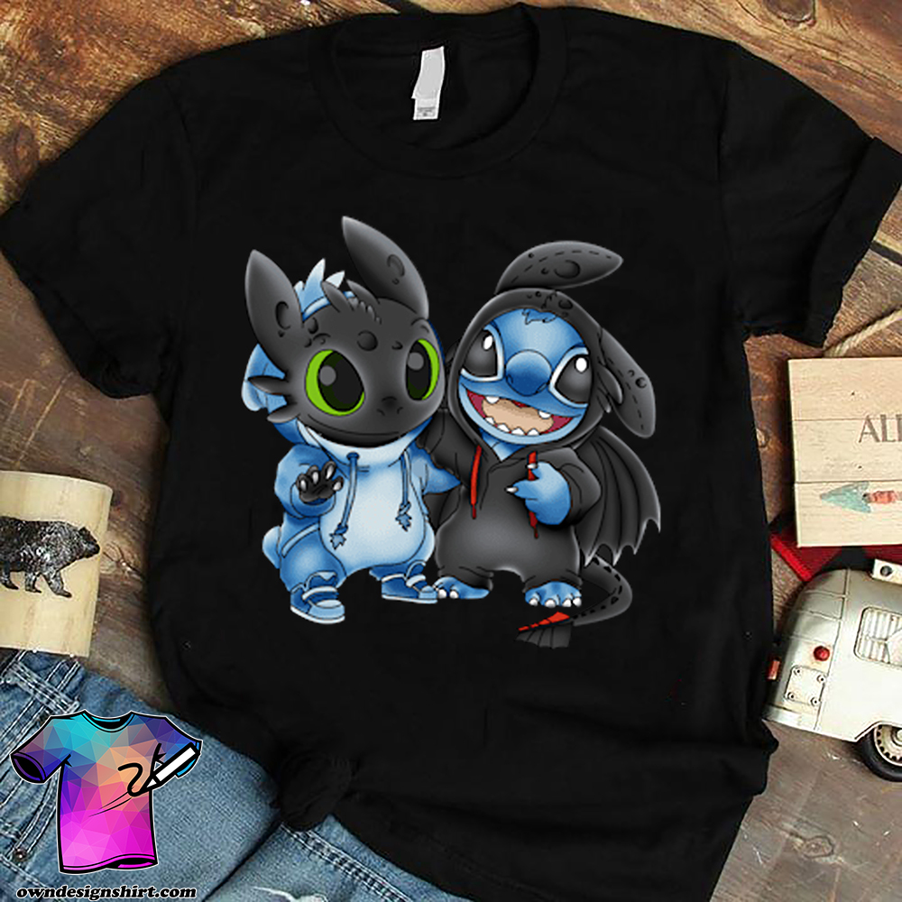 Baby stitch and baby toothless shirt