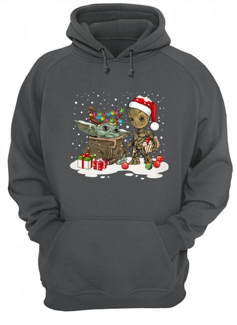 Baby yoda and baby groot christmas hoodie