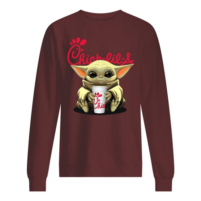 Baby yoda hug chick-fil-a sweatshirt