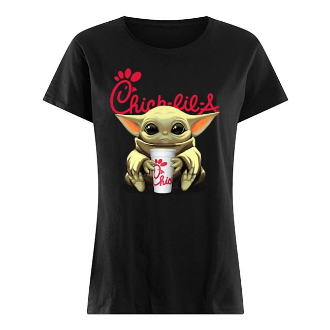Baby yoda hug chick-fil-a womens shirt