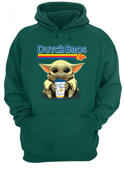 Baby yoda hug dutch bros coffee hoodie