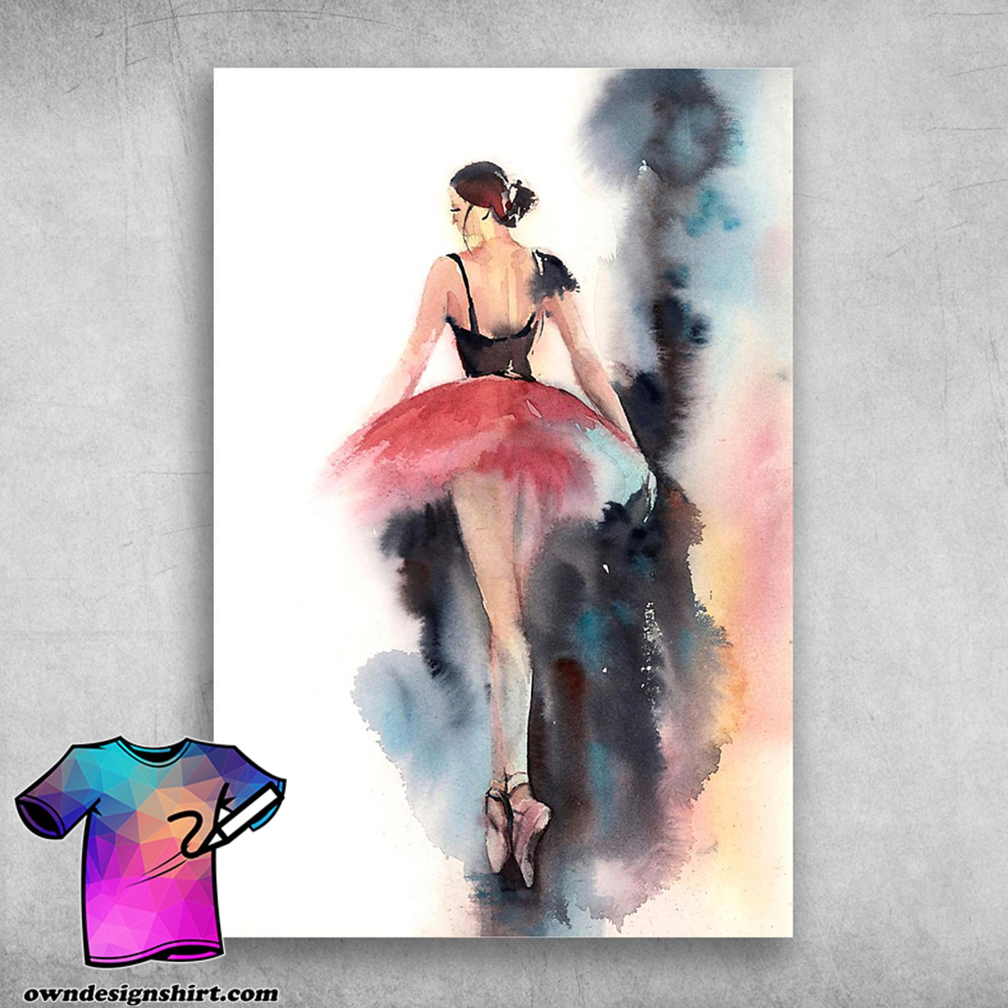 Ballet for life ballet dancer ballerina watercolor painting poster