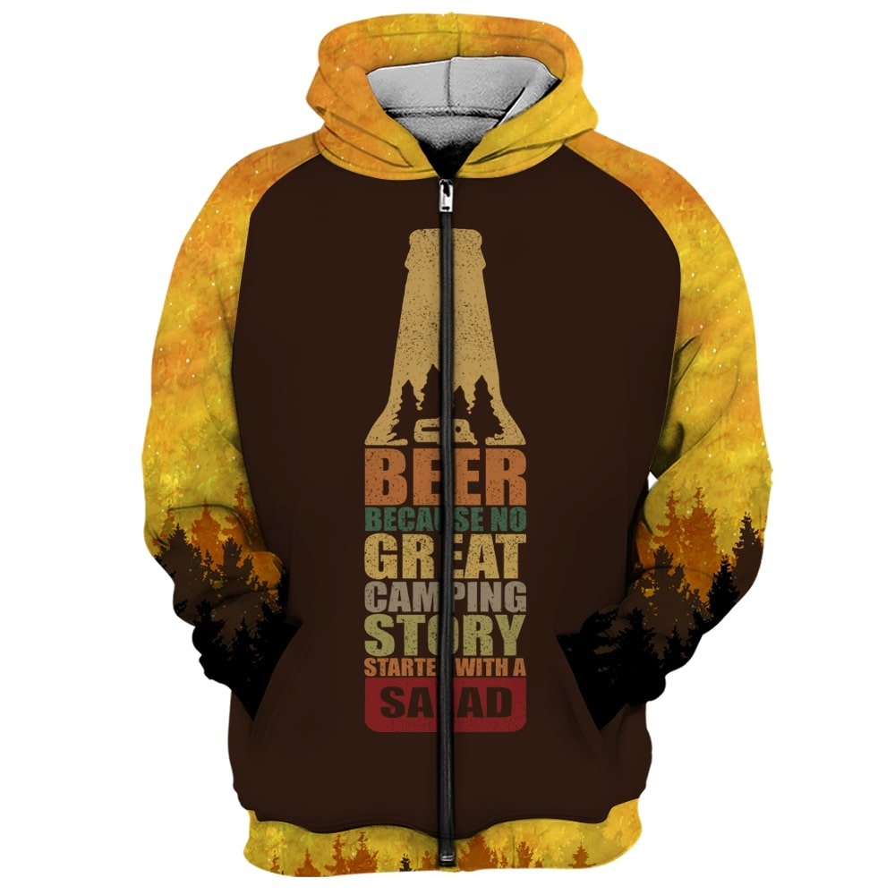 Bear beer because no great camping story with a salad all over printed zip hoodie