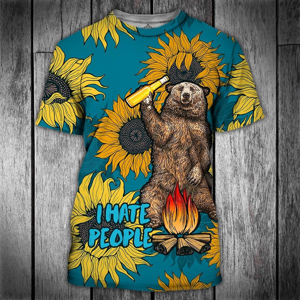 Bear beer camping i hate people sunflower full printing tshirt