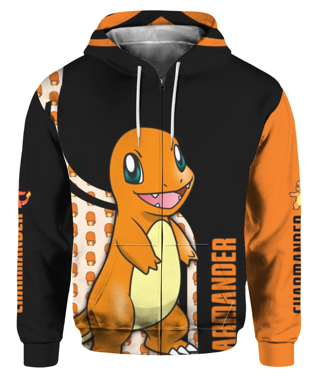 Charmander pokemon all over printed zip hoodie 1