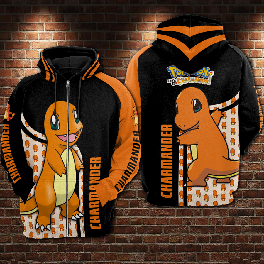 Charmander pokemon all over printed zip hoodie