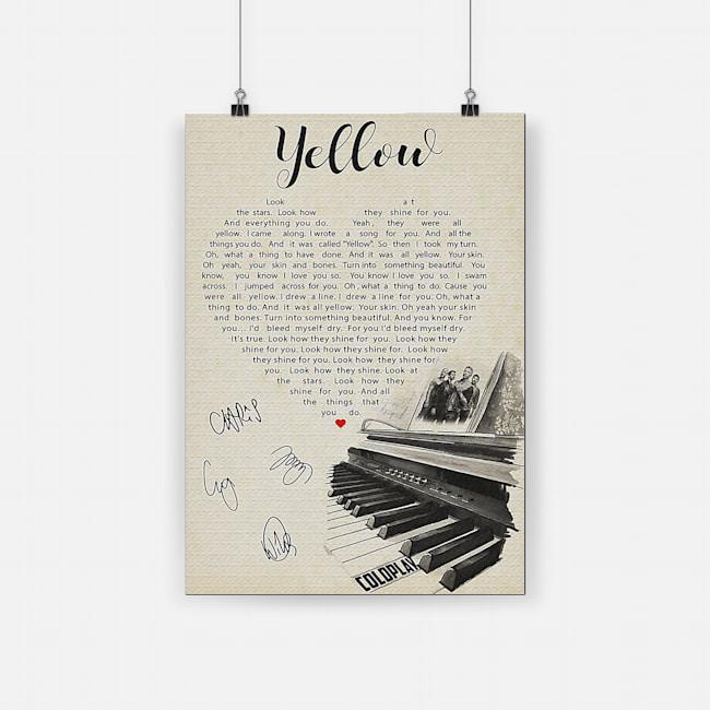 Coldplay yellow lyric poster 1