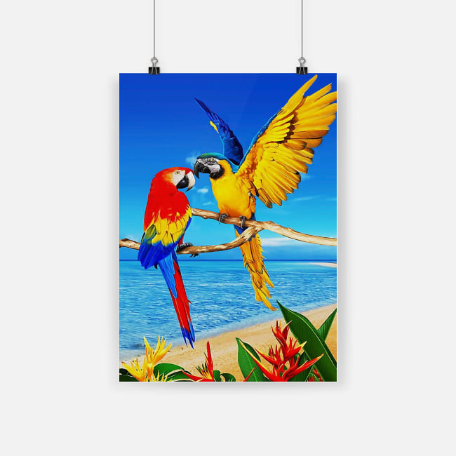 Colorful parrots macaw parrot towel tropical bird poster 1