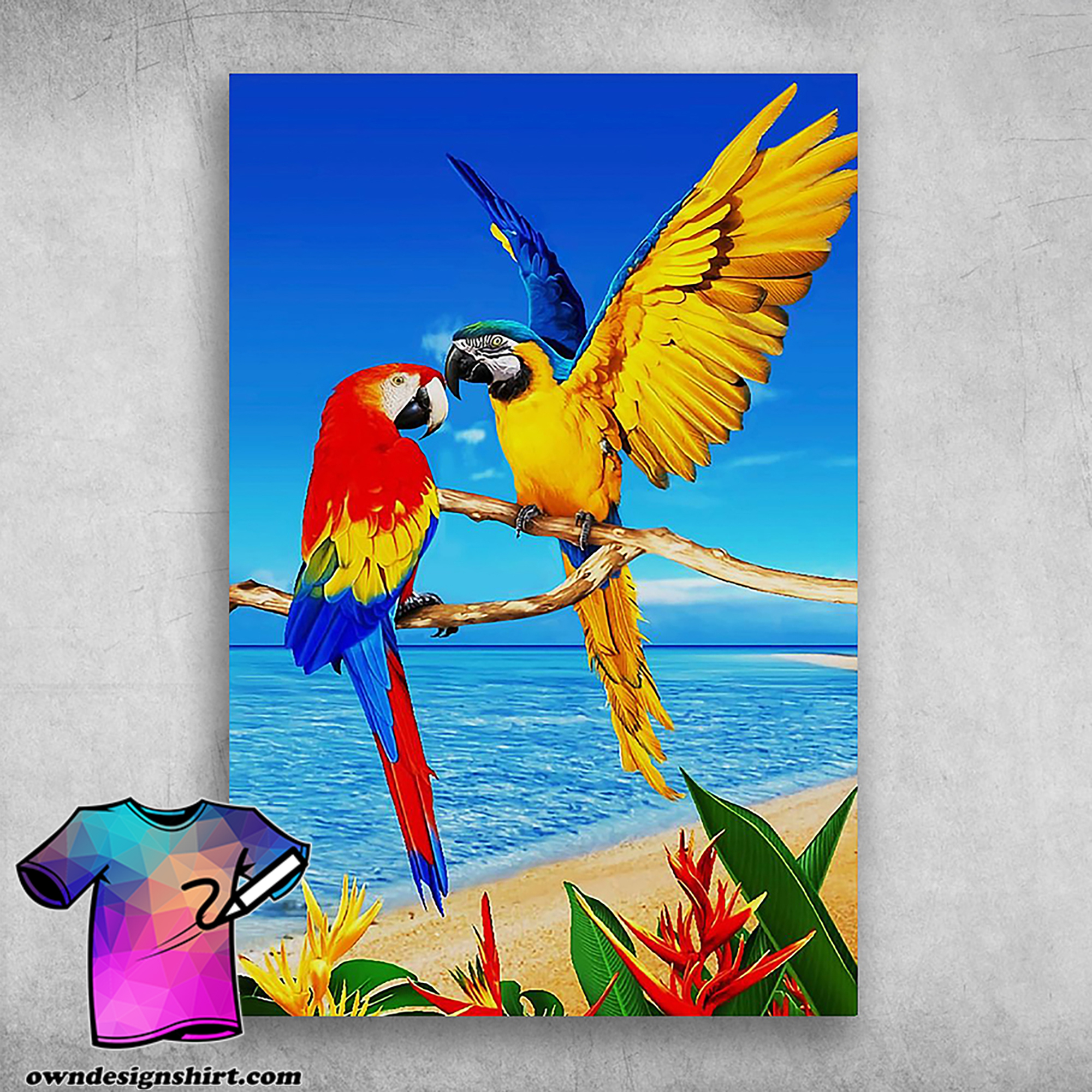 Colorful parrots macaw parrot towel tropical bird poster