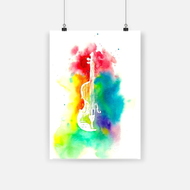 Colorful violin musical instrument poster 4