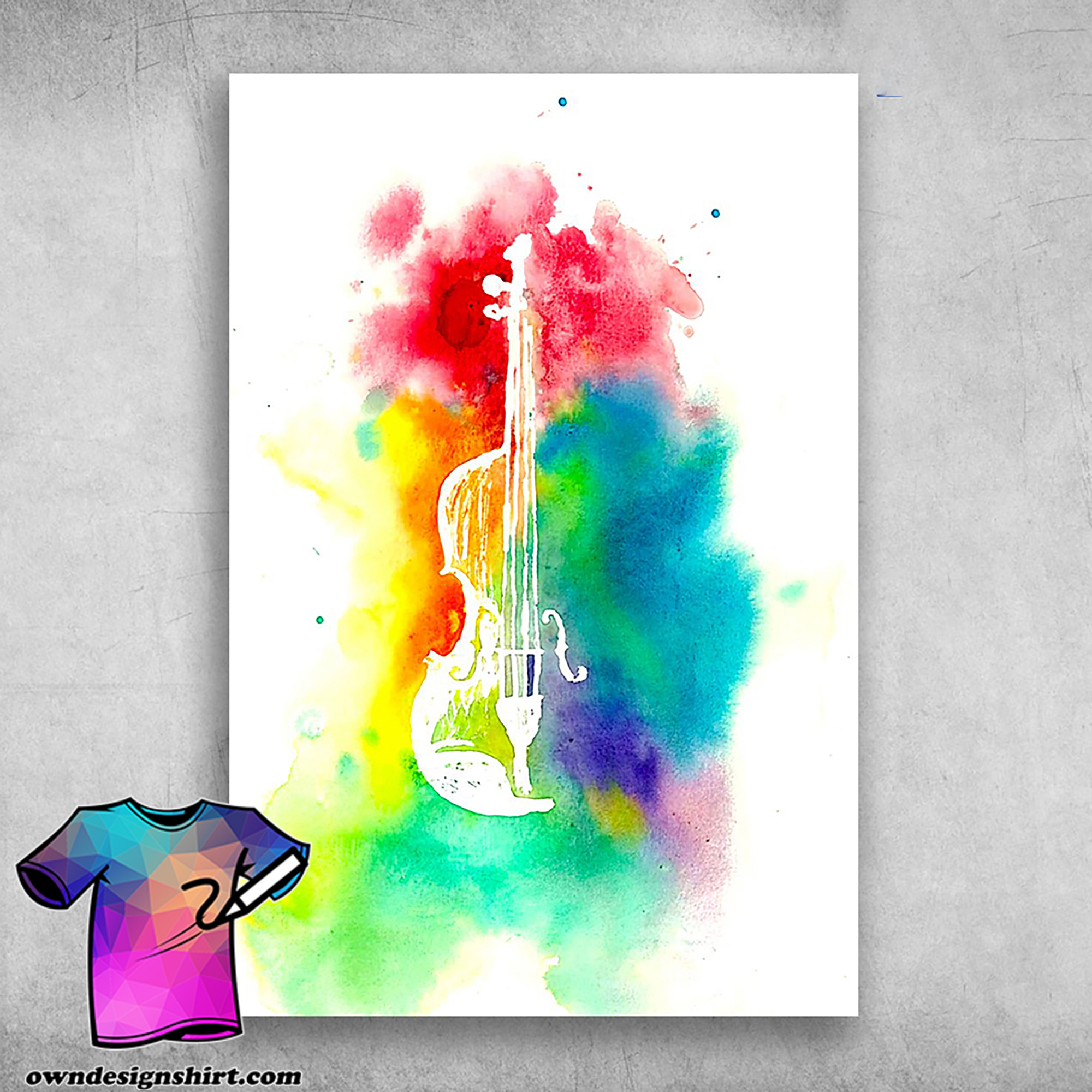 Colorful violin musical instrument poster