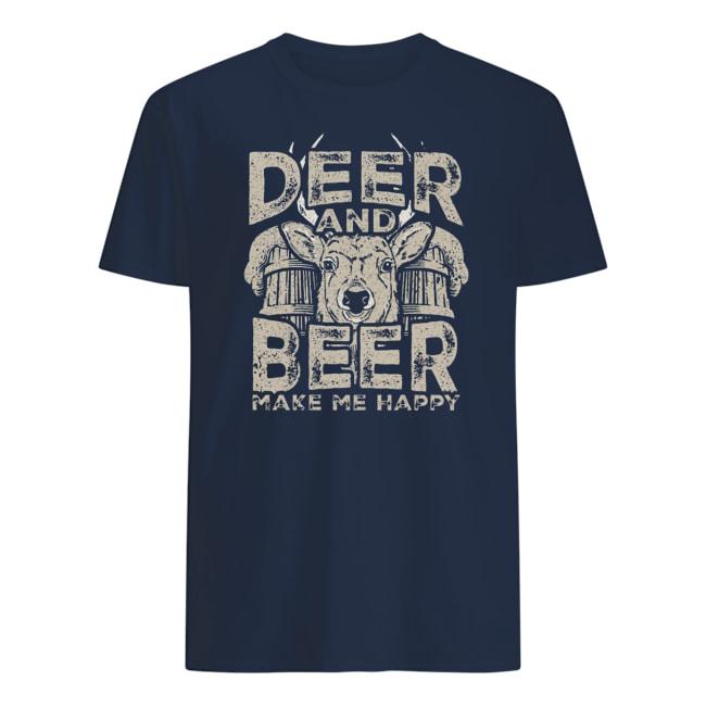 Deer and beer make me happy mens shirt
