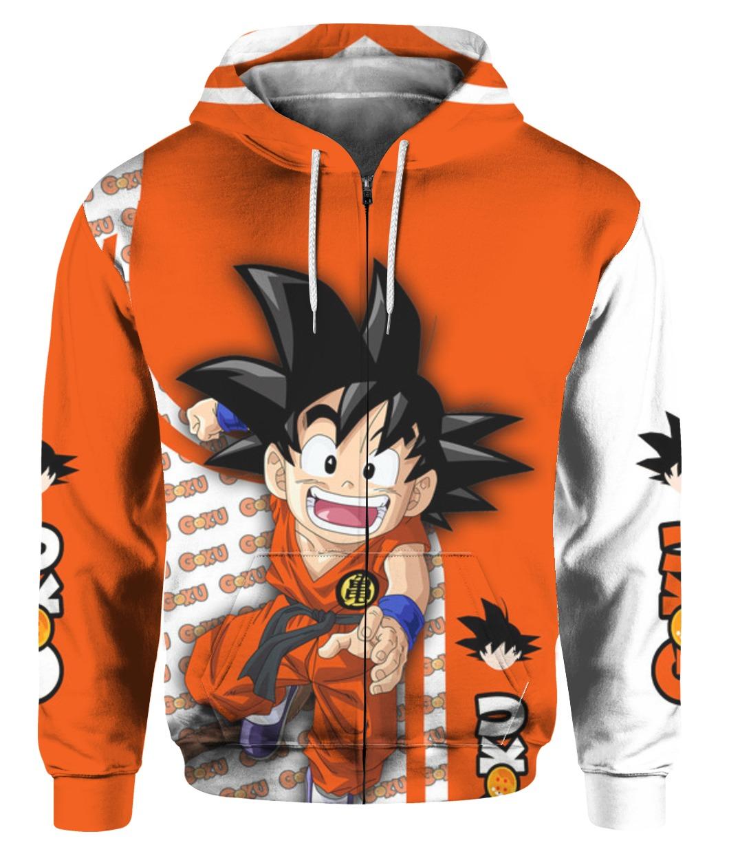 Dragon ball son goku all over printed zip hoodie 1