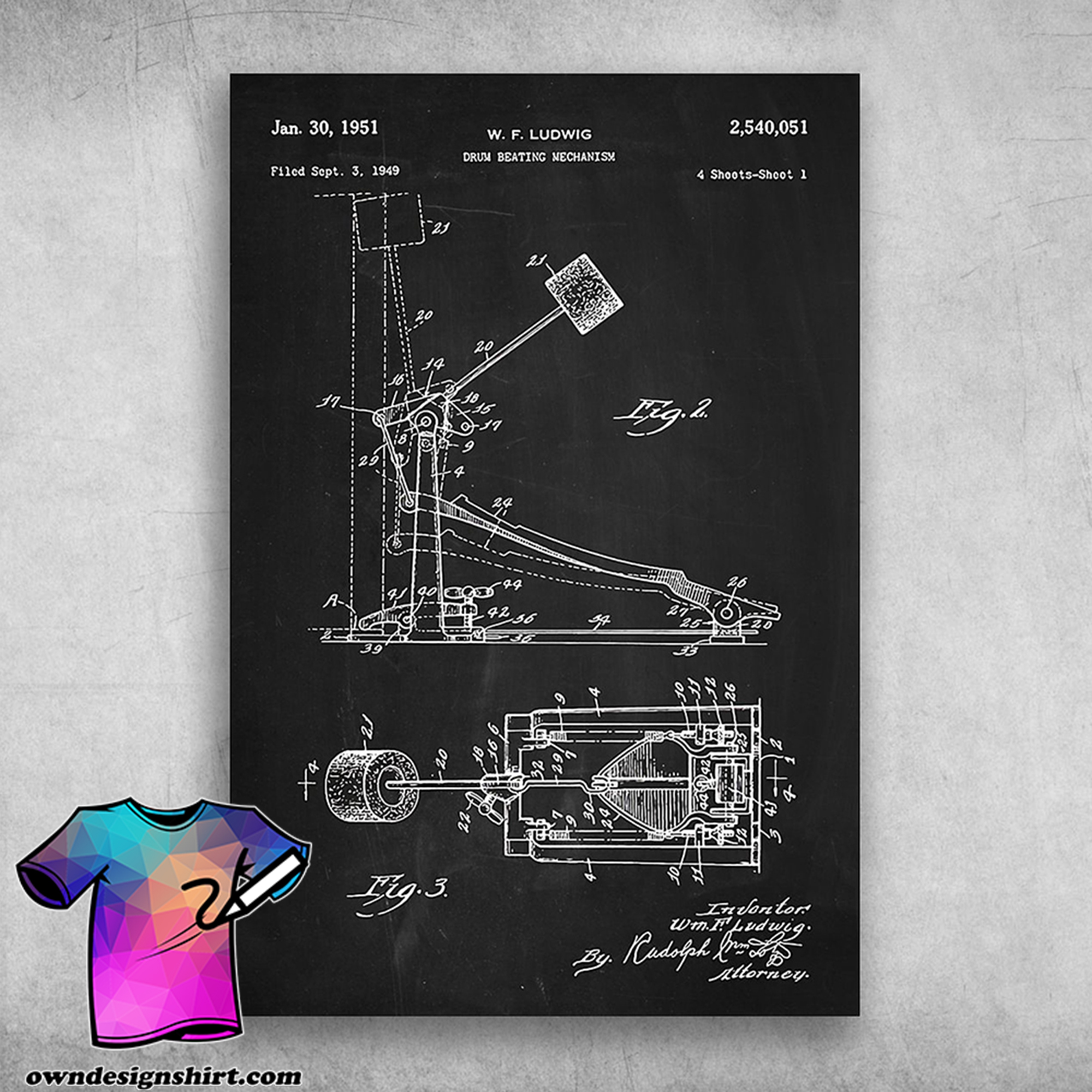 Drum beating mechanism drum musical instrument structure poster