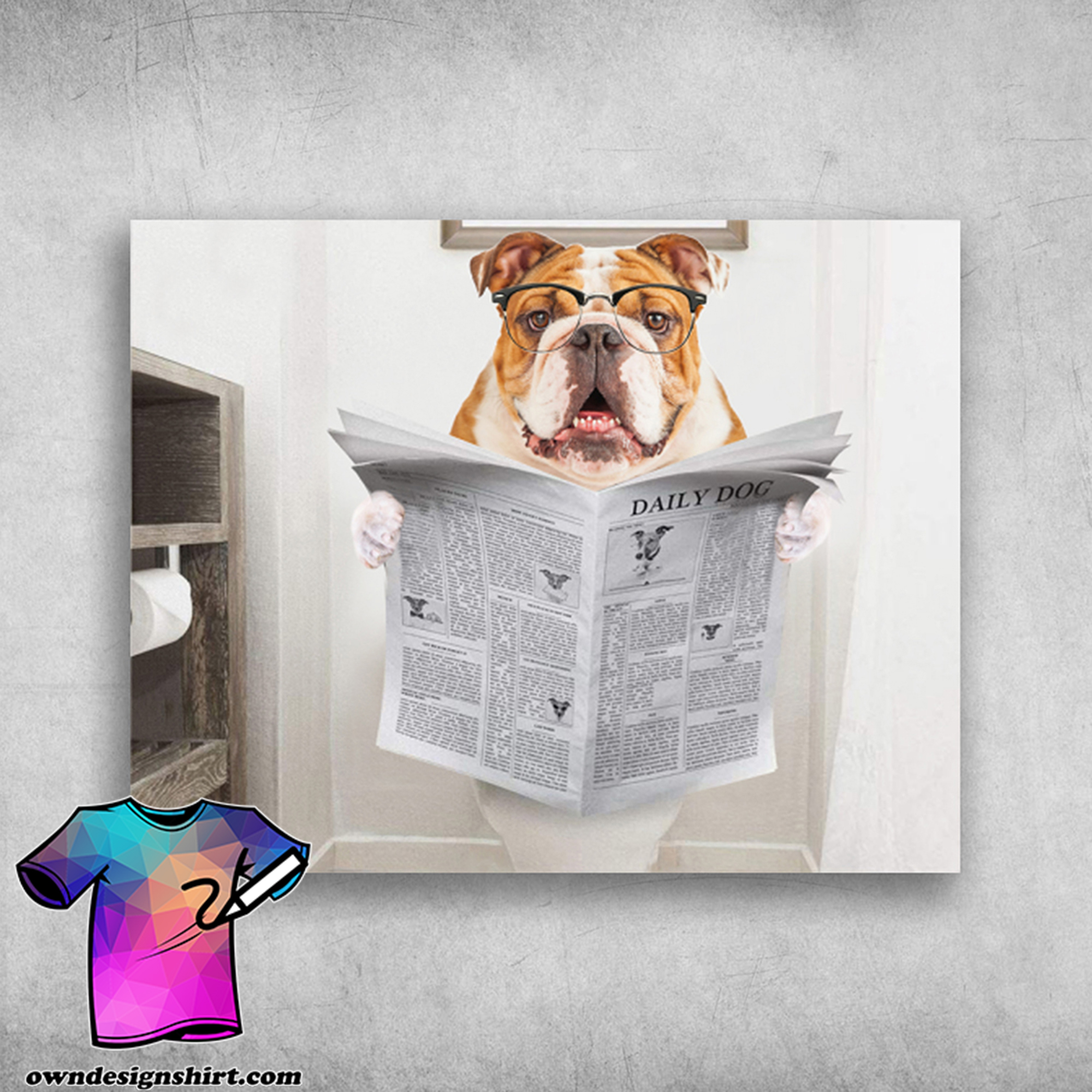 English bulldog read newspaper daily dog poster