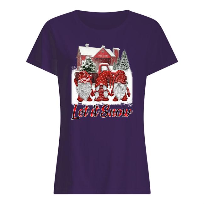 Gnomes let it snow christmas womens shirt