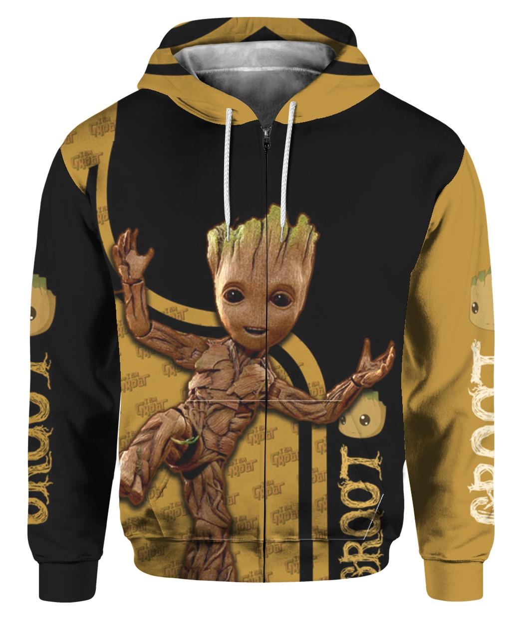 Groot all over printed zip hoodie 1