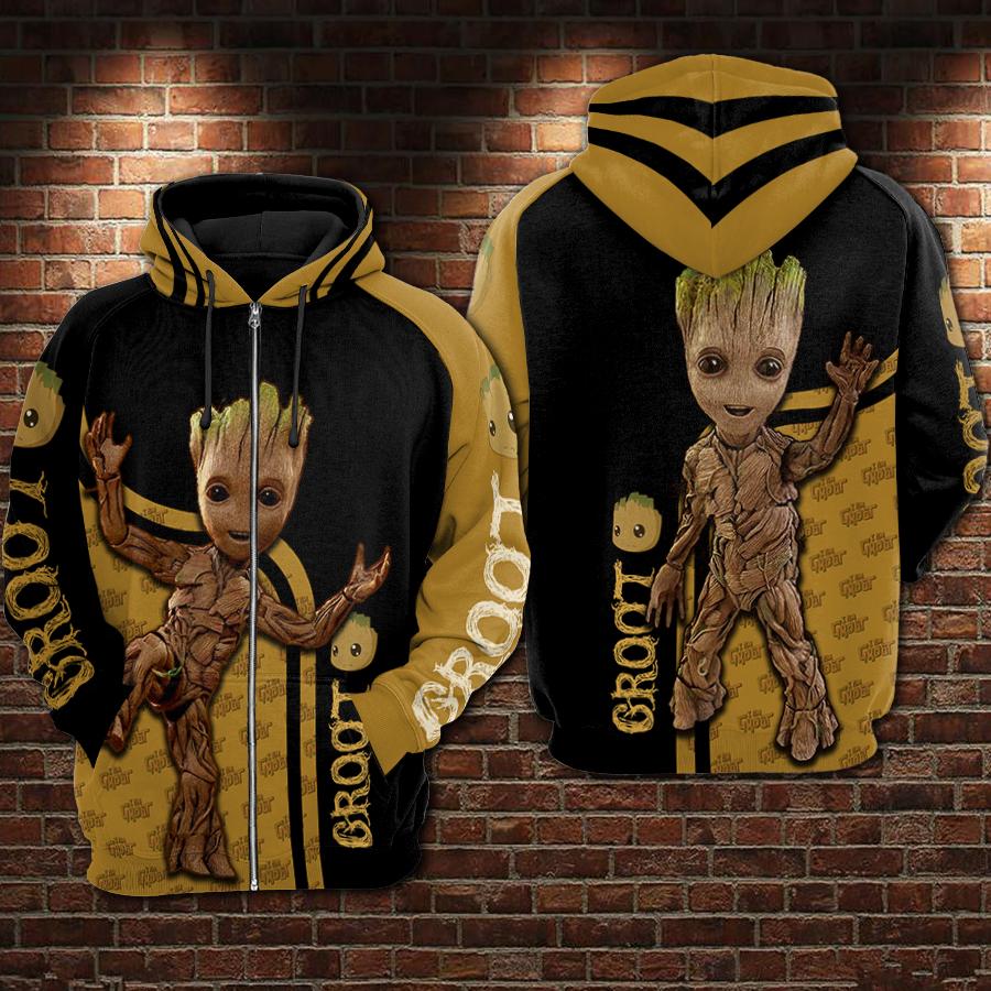 Groot all over printed zip hoodie