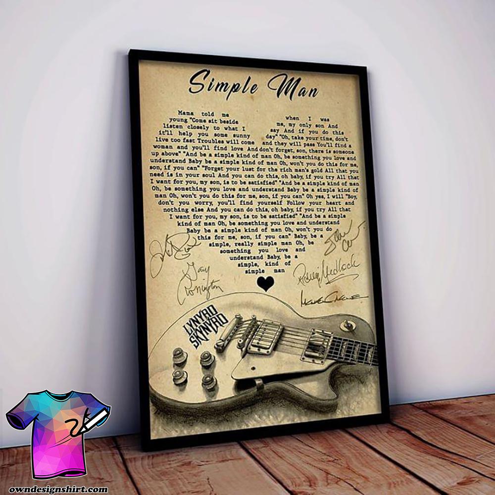 Lynyrd skynyrd simple man lyrics poster