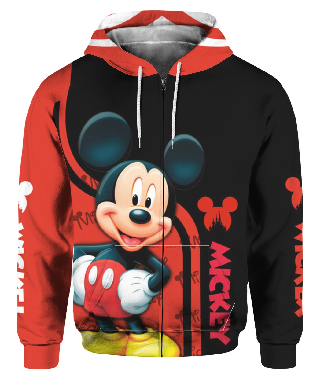 Mickey mouse all over print zip hoodie