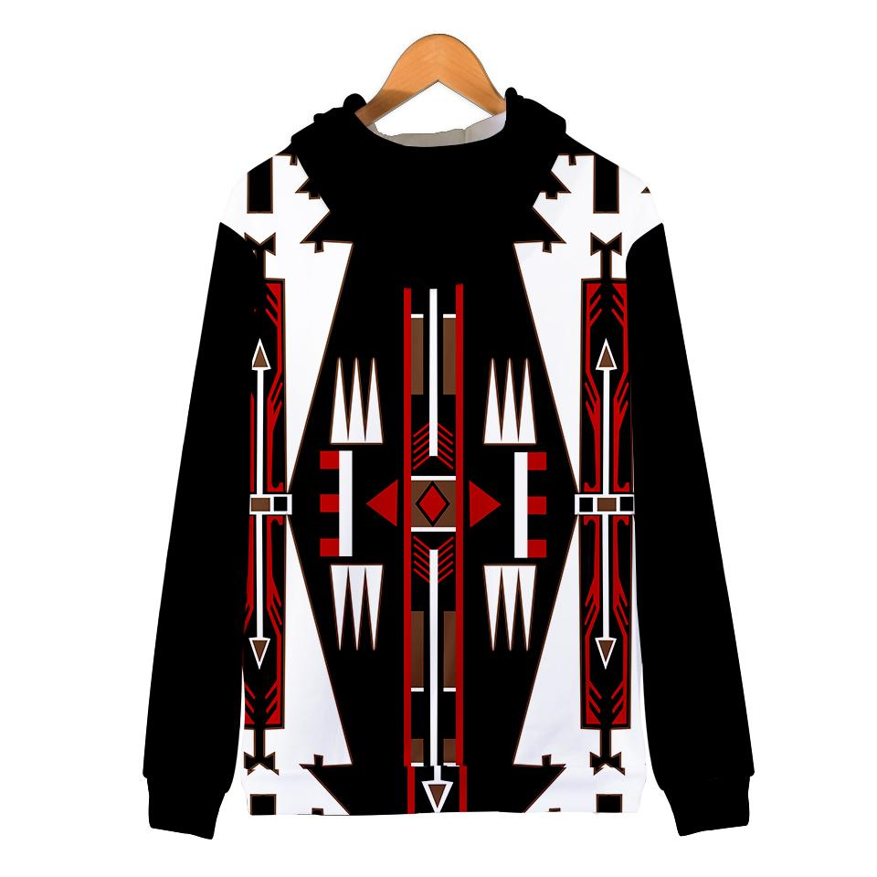 Native american black culture symbol all over printed hoodie - back 1