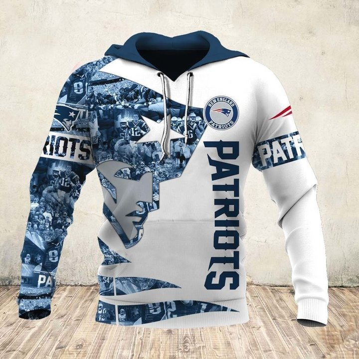 New england patriots all over printed hoodie