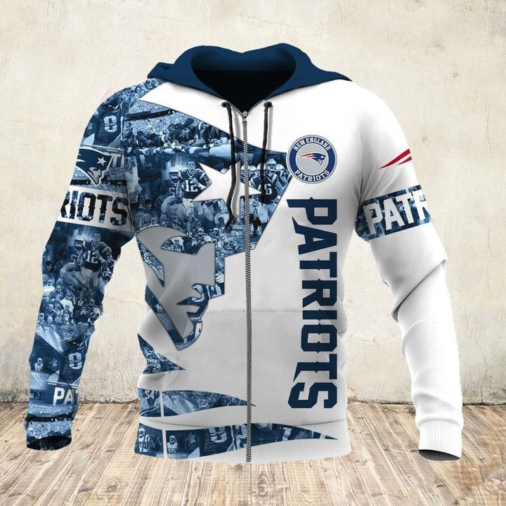 New england patriots all over printed zip hoodie