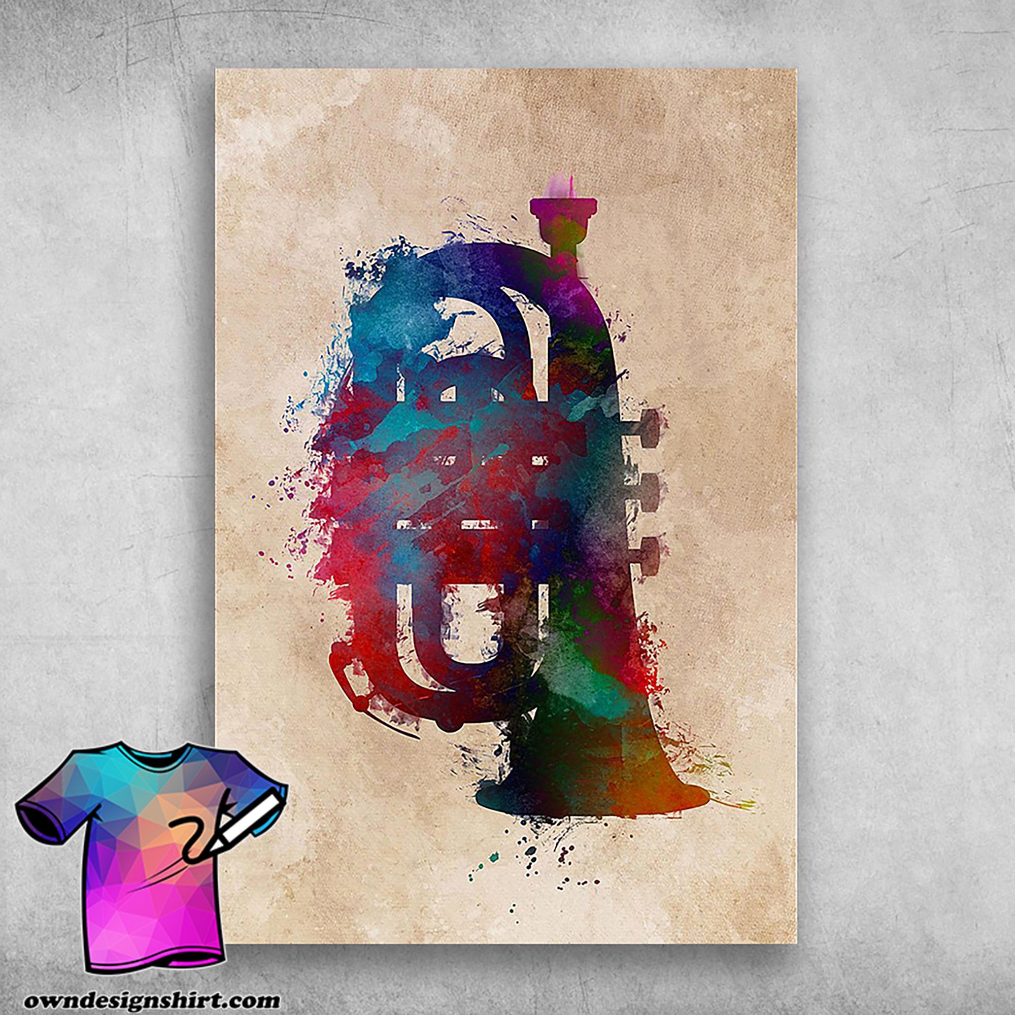 Painting tuba musical instrument tuba tuba addicts colorful poster