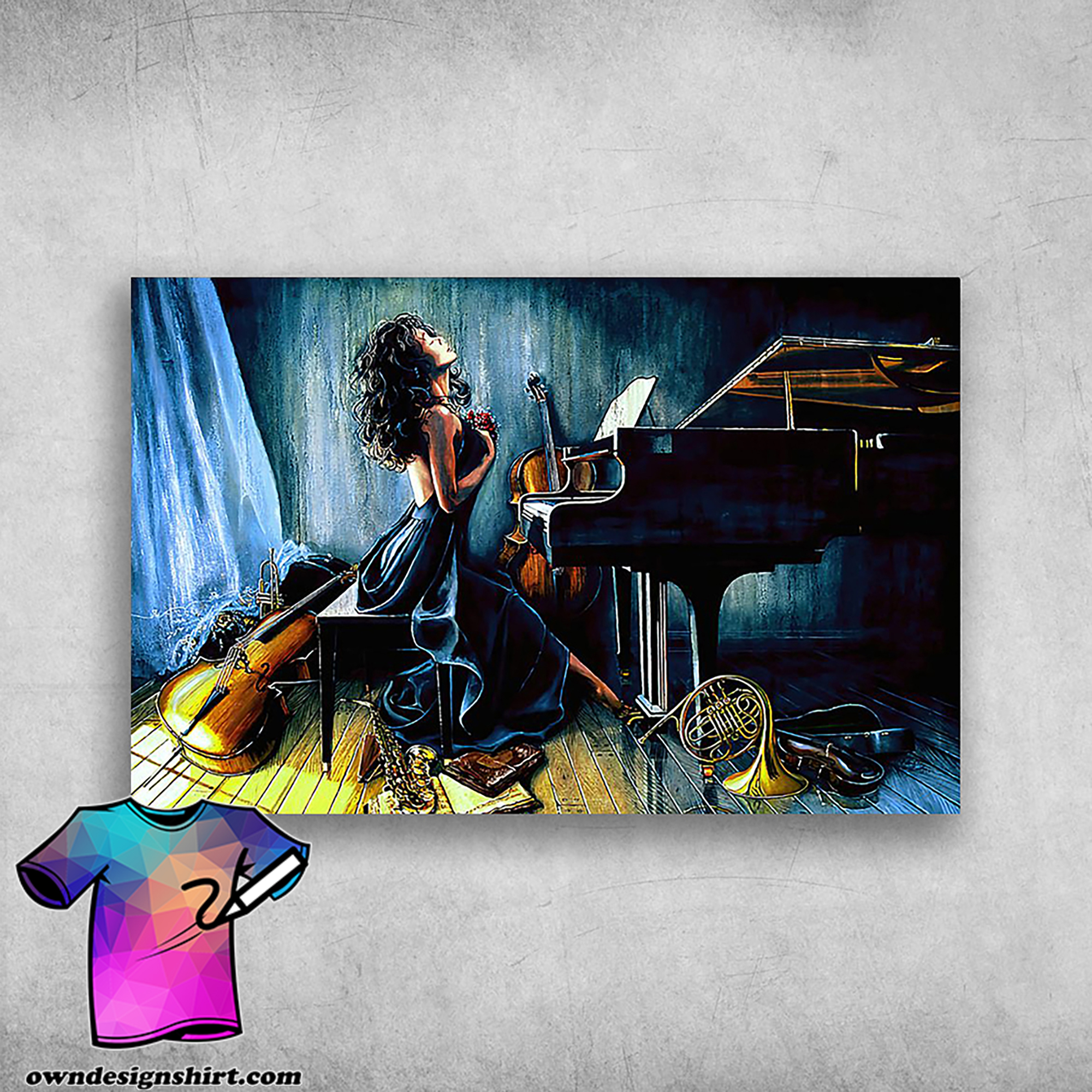 Piano in life beautiful girl with piano musical instrument poster