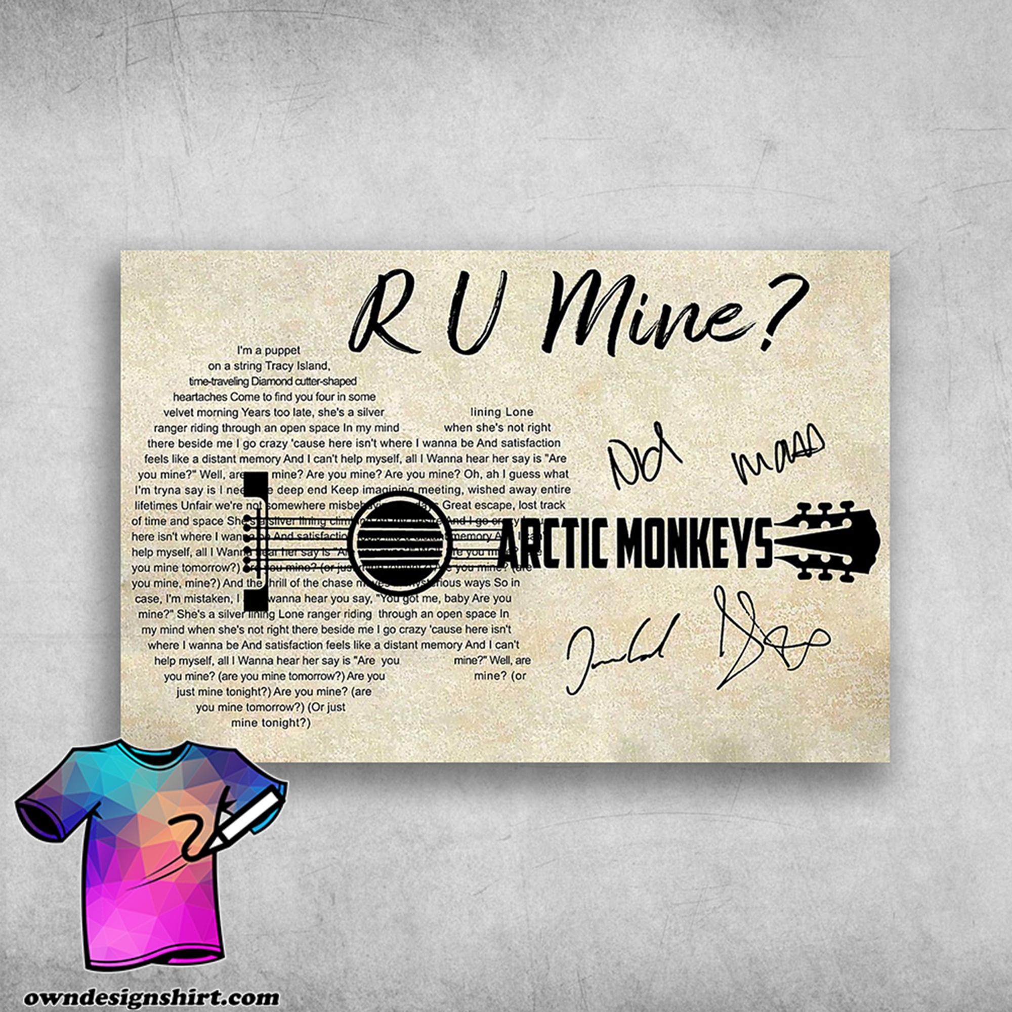 R u mine arctic monkeys i'm a puppet on a string tracy island poster