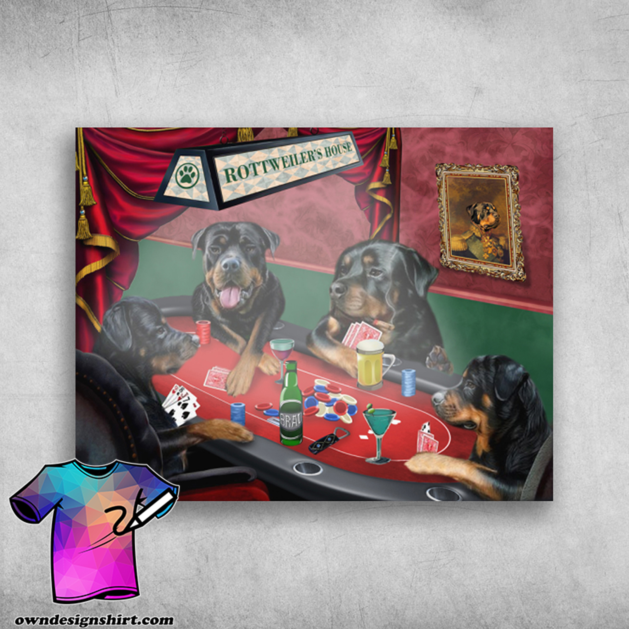 Rottweiler's house rottweiler playing cards poster