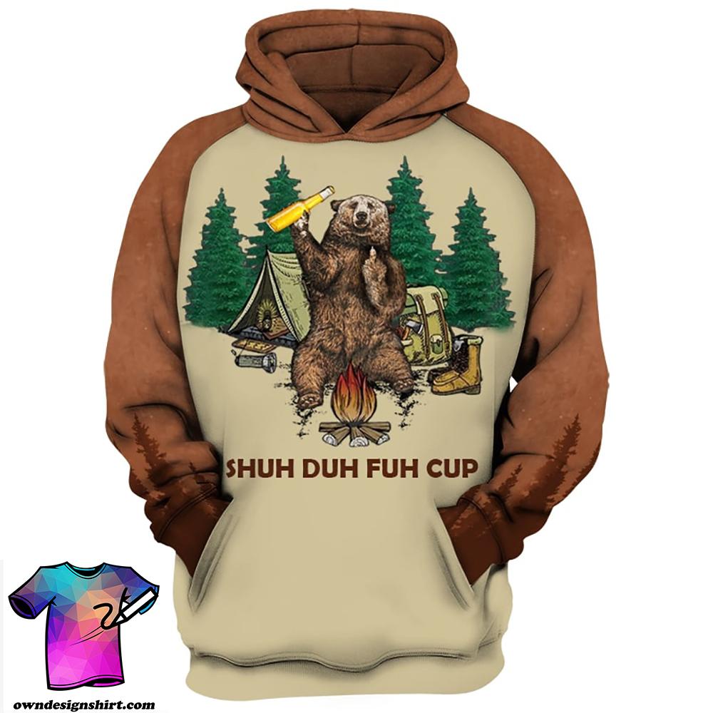 Shuh duh fuh cup bear drinking camping all over print shirt