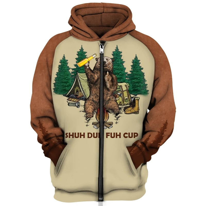 Shuh duh fuh cup bear drinking camping all over print zip hoodie