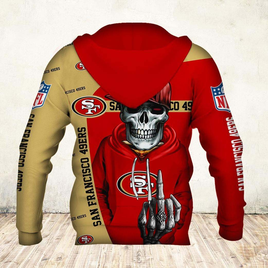 Skul san francisco 49ers all over print hoodie - back