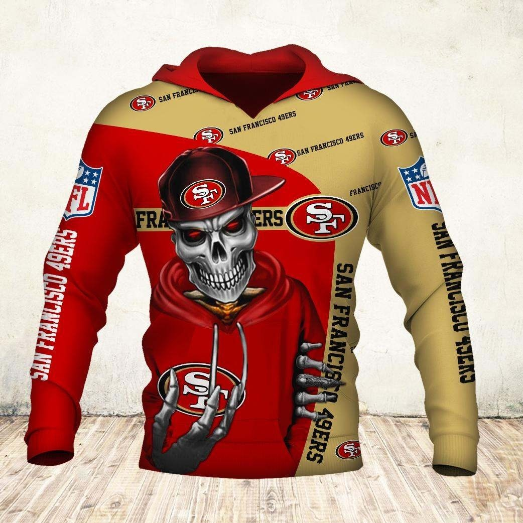 Skul san francisco 49ers all over print hoodie