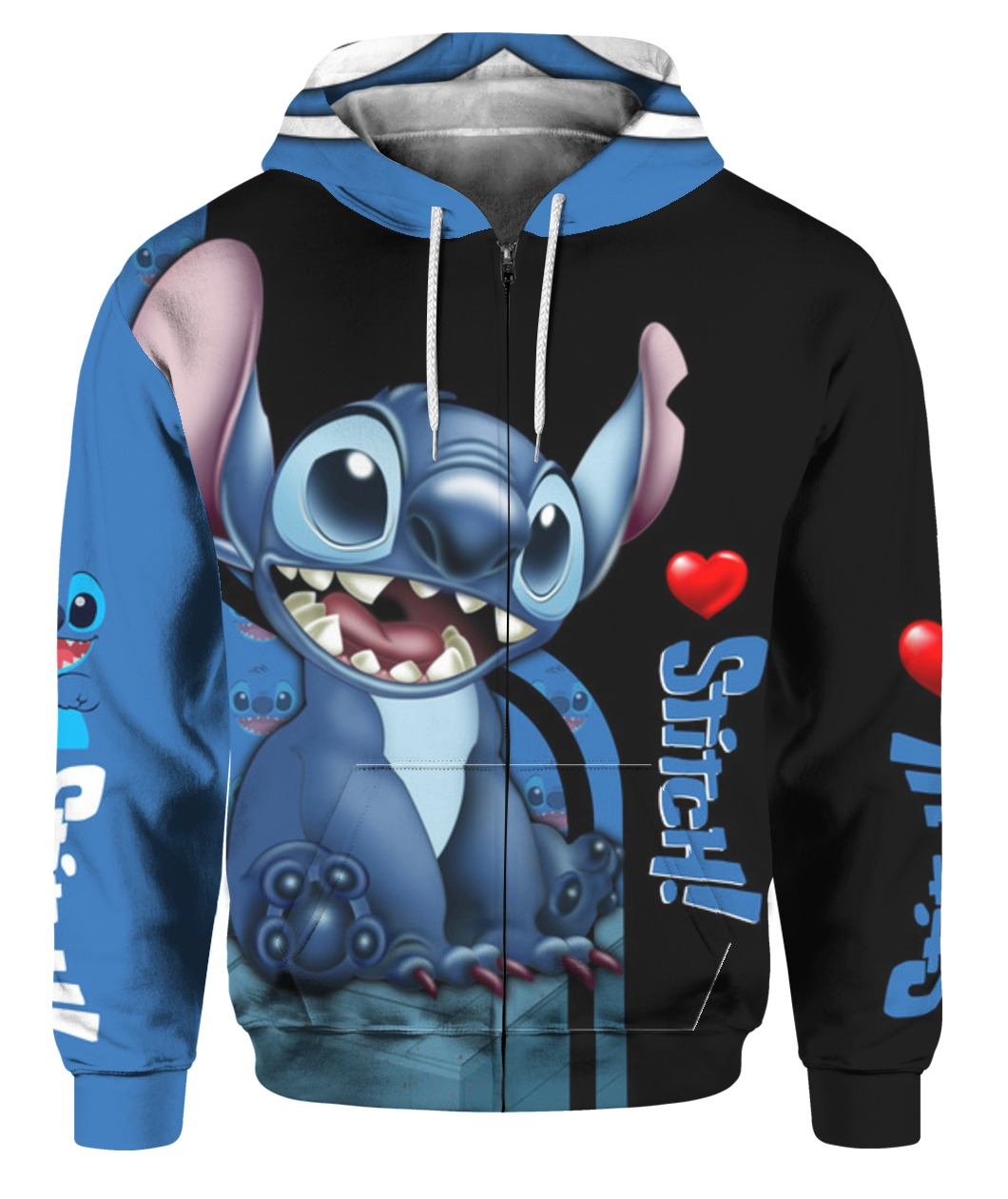 Stitch all over printed zip hoodie