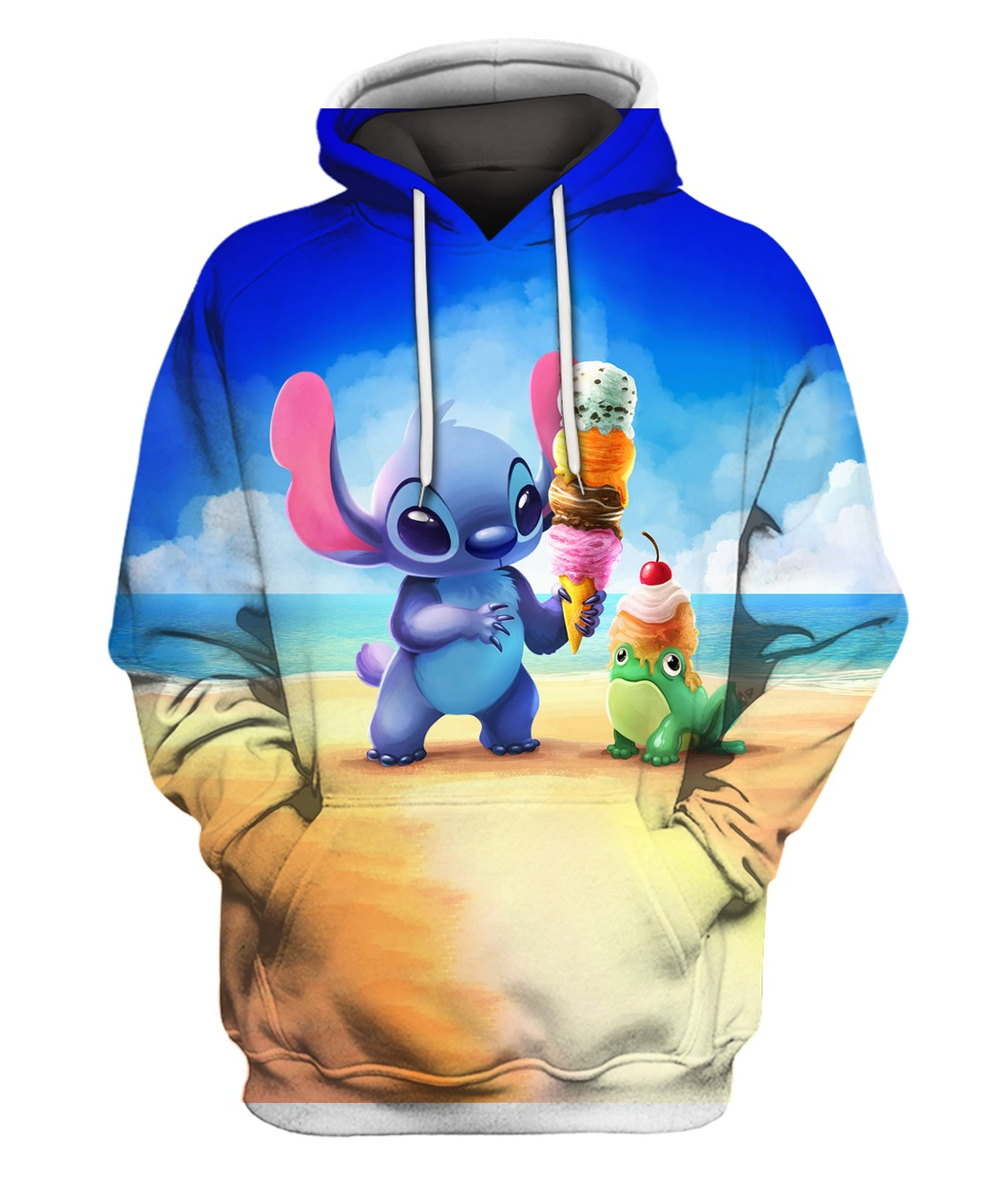 Stitch and ice-cream all over printed hoodie