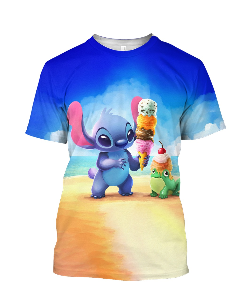 Stitch and ice-cream all over printed tshirt