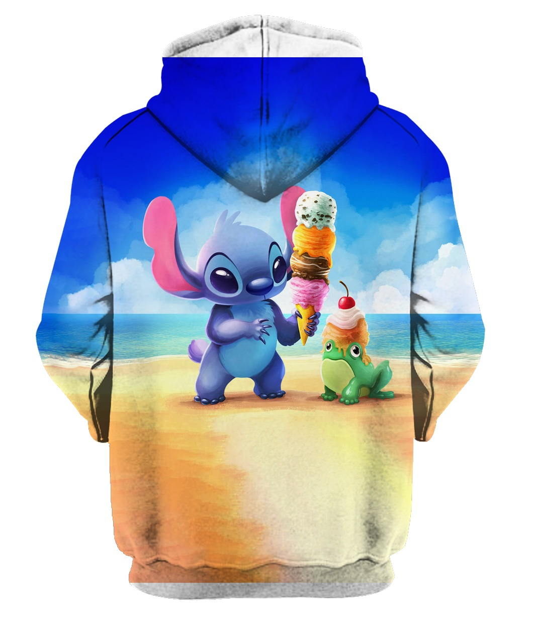 Stitch and ice-cream all over printed zip hoodie - back