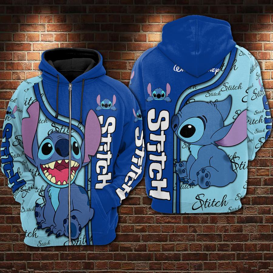 Stitch full printing zip hoodie