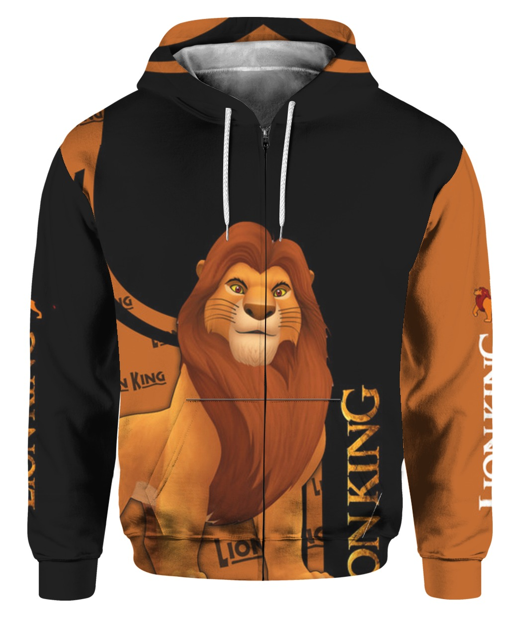 The lion king all over printed zip hoodie 1