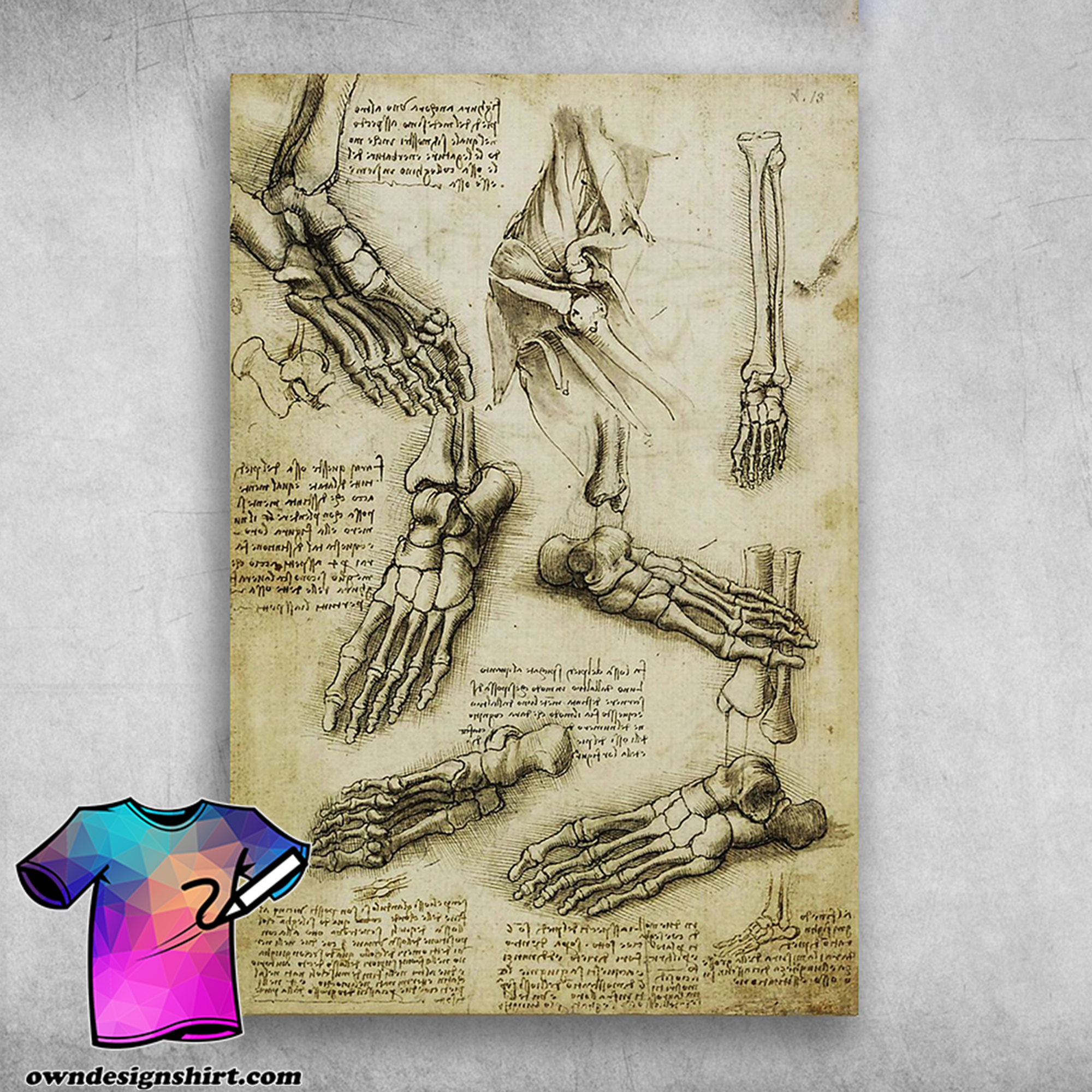 The nature of the human body leonardo da vinci poster