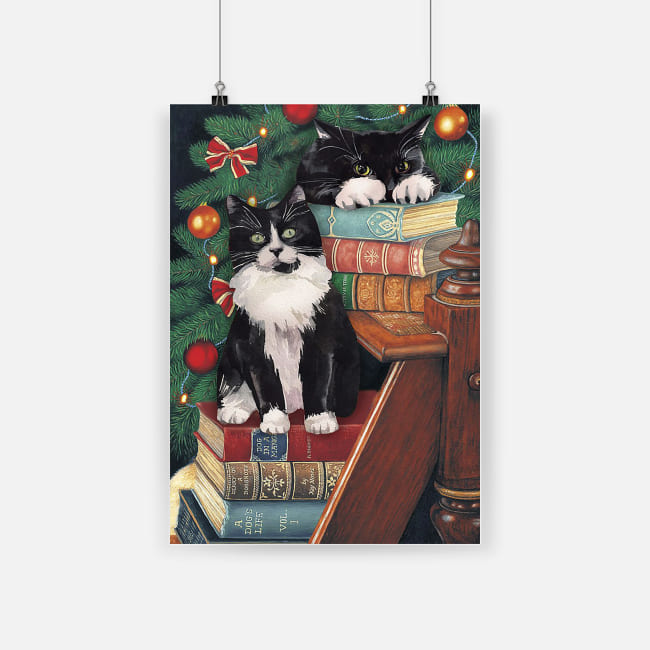 The norwegian forest cat cute black cat on christmas poster 1