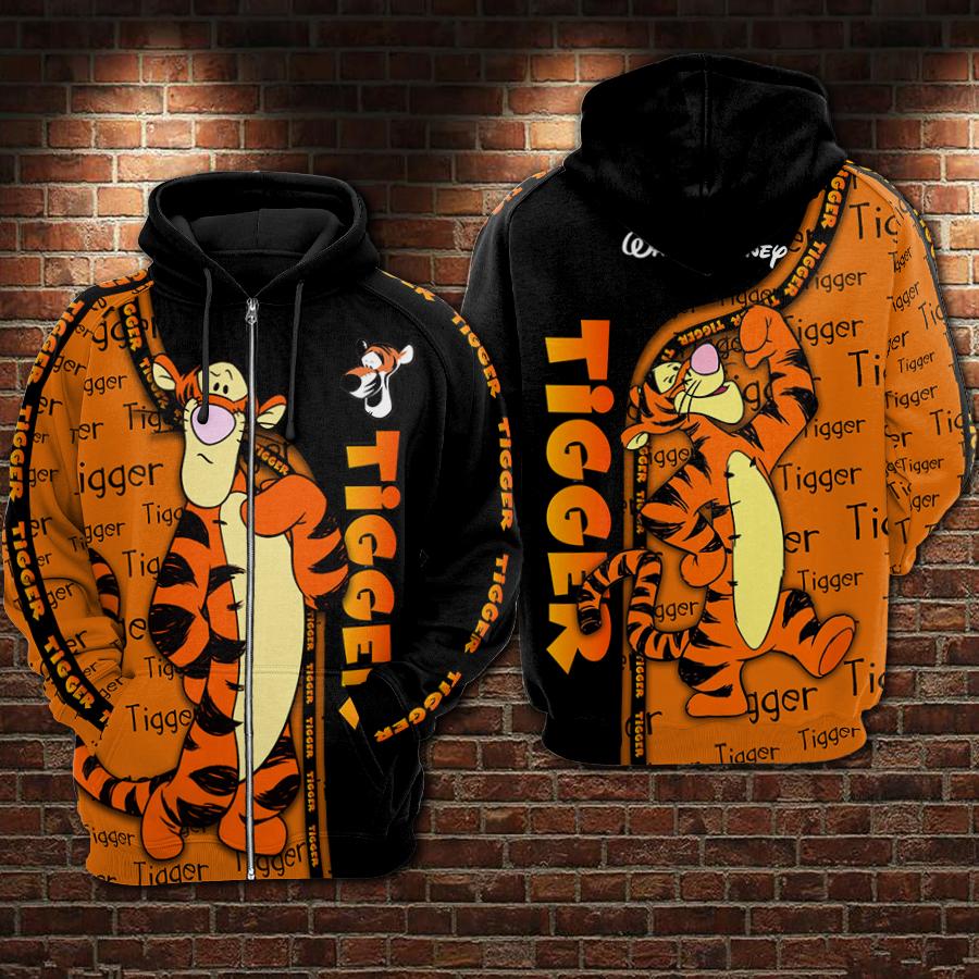 Tigger winnie-the-pooh full printing zip hoodie