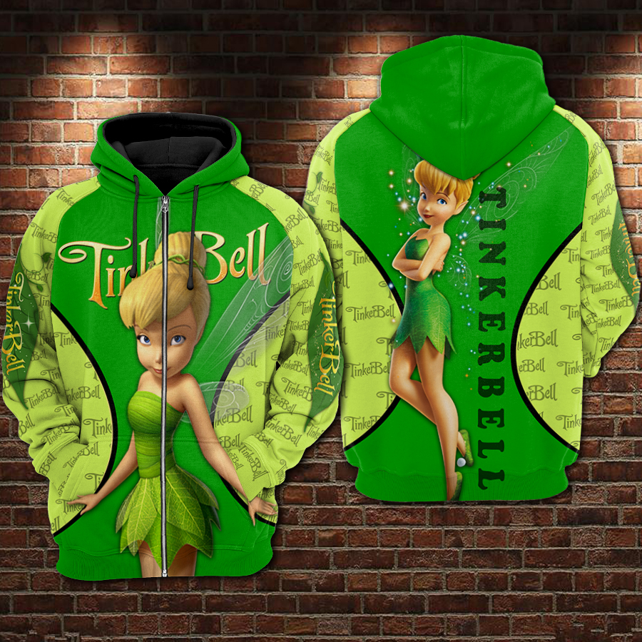 Tinker bell all over printed zip hoodie