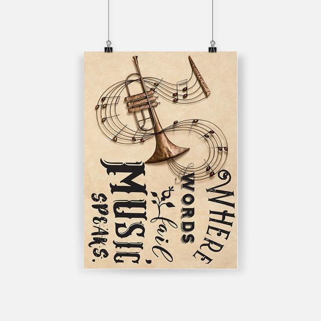 Trumpet instrument where words fail music speaks poster 2