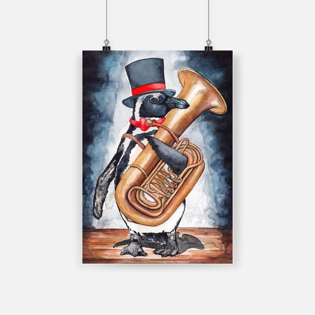 Tuba addicts cute penguin hugs tuba musical instrument poster 1