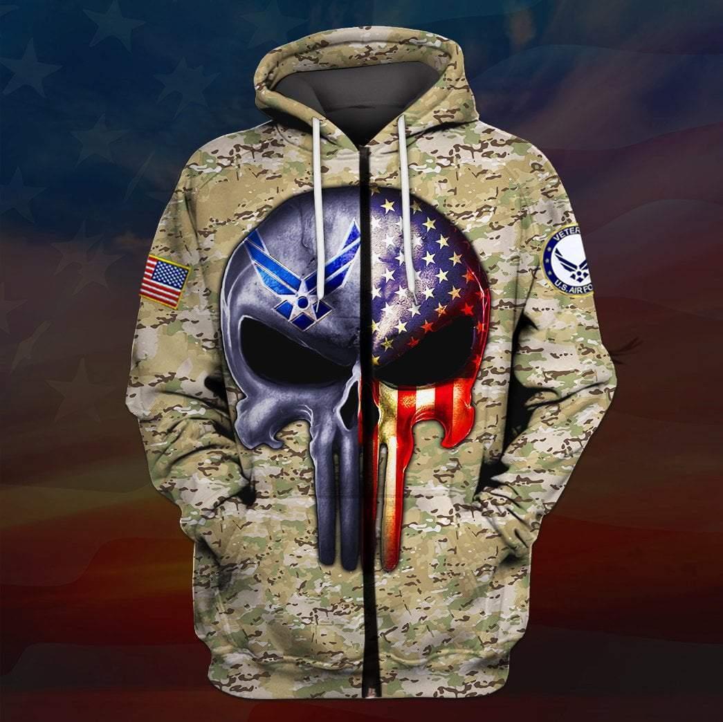 US air force all over printed zip hoodie