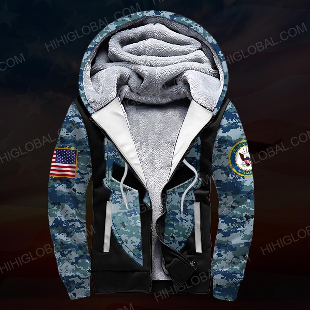 US navy all over printed fleece zip hoodie