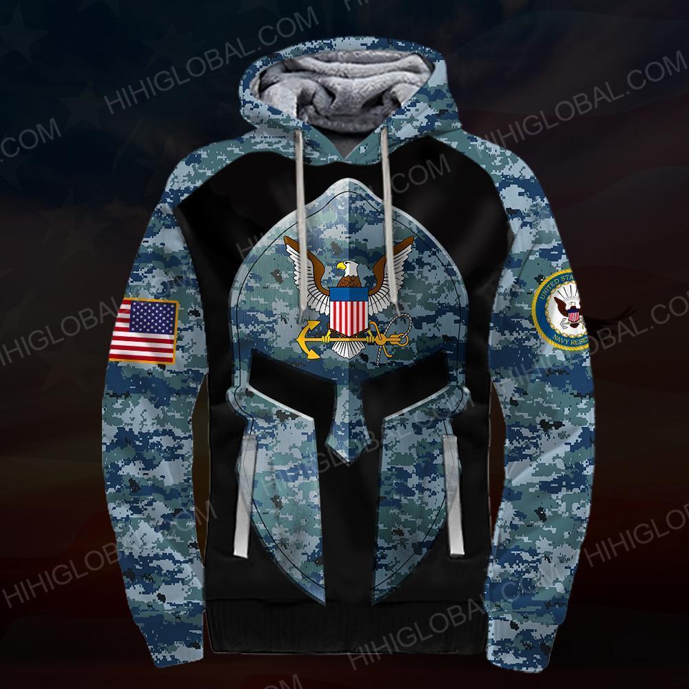 US navy all over printed hoodie